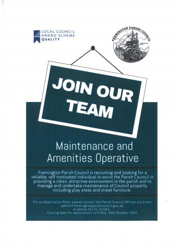 Advert for maintenance and amenities officer