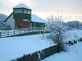 Fremington Quay in a blanket of snow